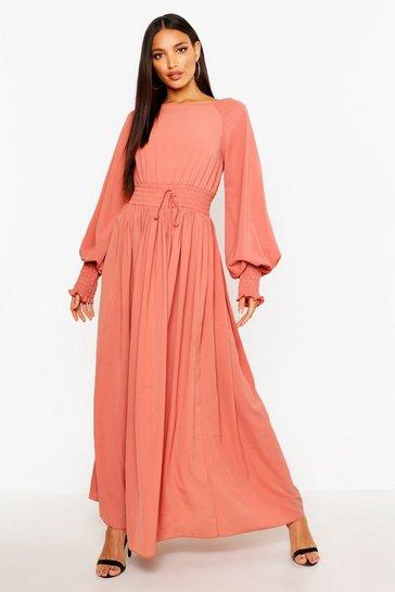 Rose pink Shirred Waist & Cuff Woven Maxi Dress