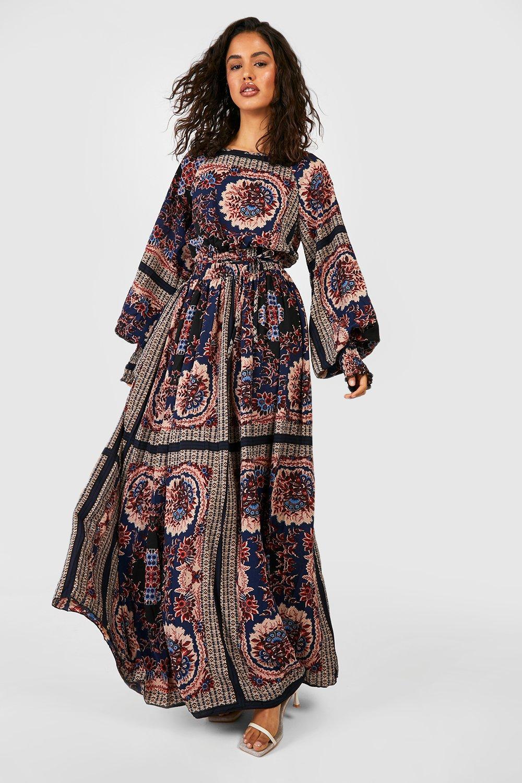 Koko Womens Plus Size Pink Scarf Print Shirred Bardot Dress