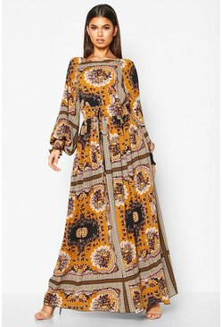 Desert sand orange Shirred Waist Scarf Print Maxi Dress