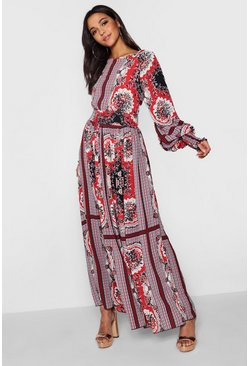 Fire red red Shirred Waist Scarf Print Maxi Dress