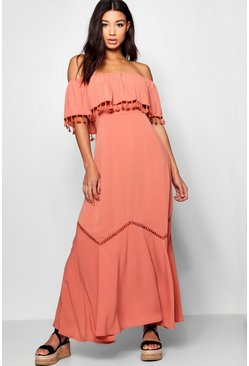 Rose pink Off The Shoulder Tassel Trim Maxi Dress