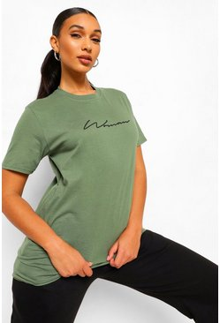 "T-shirt ""Woman"", Kaki"