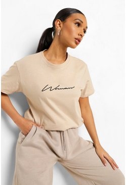 Tan brown Woman Signature T-Shirt