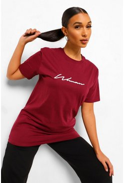 Wine red Woman Signature T-Shirt