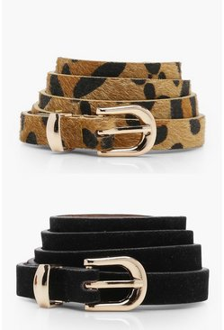 Black 2 Pack Leopard And Suedette Belt