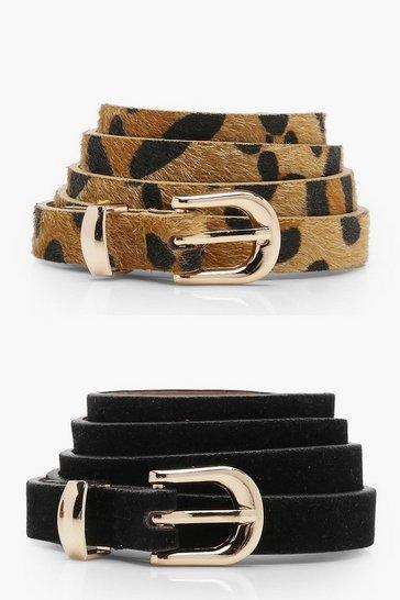 Black 2 Pack Leopard And Suedette Belt