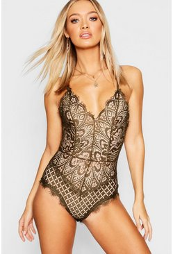Khaki Eyelash Lace Bodysuit