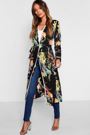 Black Dark Tropical Floral Belted Kimono