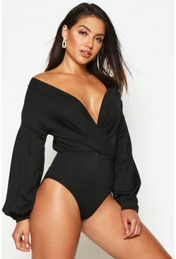 Black Daisy Twist Front Bodysuit