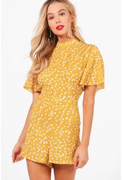 Mustard yellow Polka Dot Flute Sleeve Playsuit