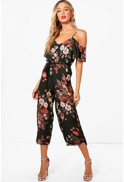 Khaki Cold Shoulder Dark Floral Jumpsuit