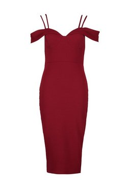 Berry Strappy Cold Shoulder Midi Dress