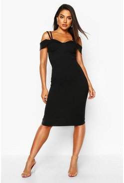 Black Strappy Cold Shoulder Midi Dress