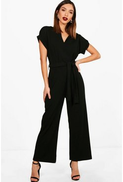 Black Tailored Wide Leg Jumpsuit