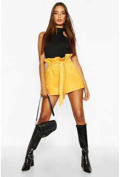 Amber orange Paper Bag Waist Tie Belted Shorts