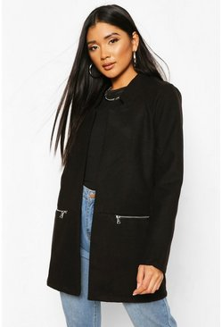 Black Zip Pocket Wool Look Coat