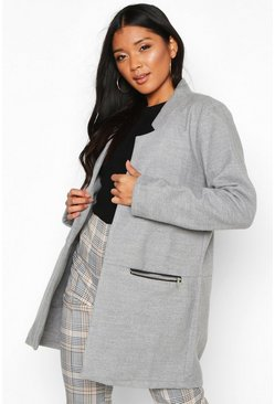 Light grey grey Zip Pocket Wool Look Coat