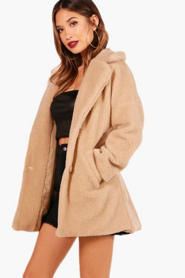 Stone beige Faux Fur Teddy Coat