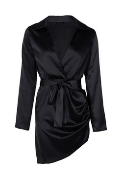 Black Satin Wrap Detail Dress