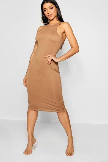 Camel beige Basic Racer Front Midi Dress