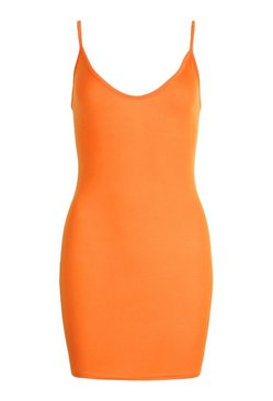Orange Plunge Front Jersey Cami Bodycon Dress