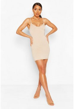 Stone beige Plunge Front Jersey Cami Bodycon Dress
