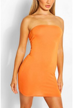 Orange Bandeau Jersey Bodycon Dress