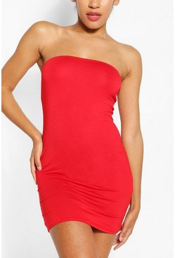 Red Bandeau Jersey Bodycon Dress