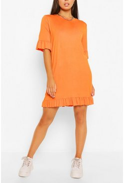 Orange Ruffle Detail Jersey Shift Dress