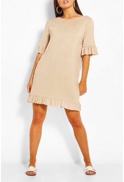 Stone beige Ruffle Detail Jersey Shift Dress