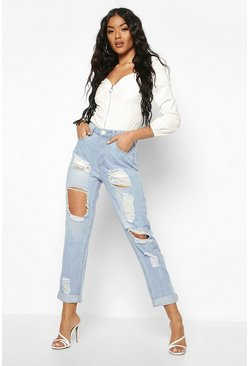 Light blue blue High Waist Distress Mom Jeans