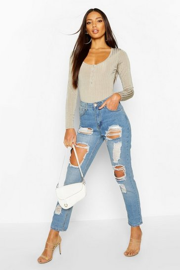 Mid blue blue High Waist Distress Mom Jeans