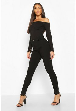 Black High Waisted Classic Stretch Skinny Jeans