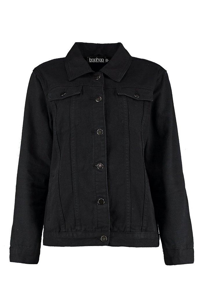 Svart jeansjacka i oversize modell | boohoo SE