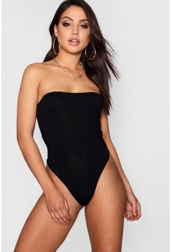 Black Basic Bandeau Bodysuit