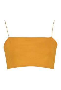 Mustard Basic Square Neck Strappy Bandeau