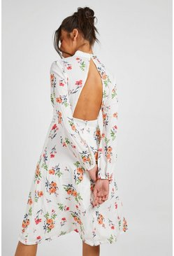 Ivory white Boutique  Floral Long Sleeve Skater Dress