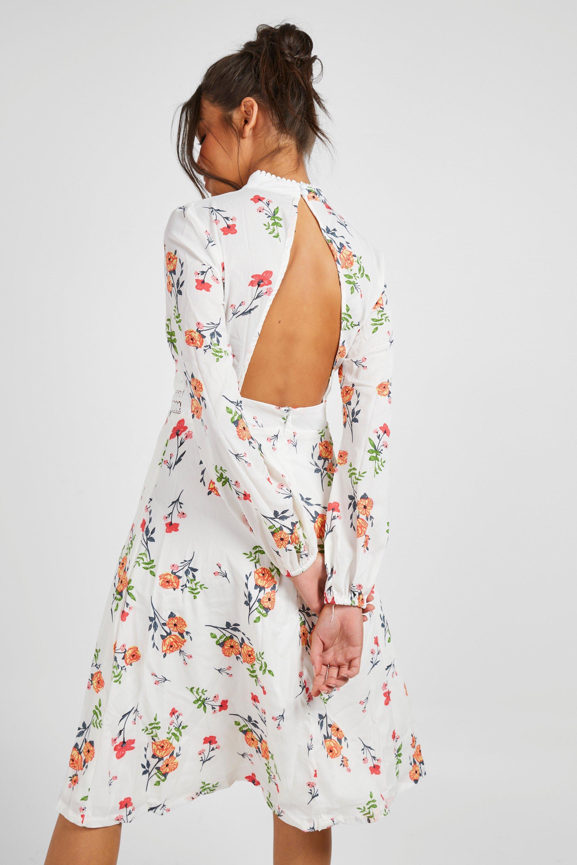 Womens Sale Boutique  Floral Long Sleeve Skater Dress