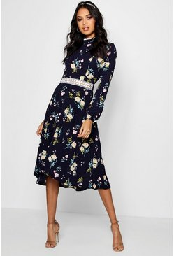 Navy Boutique  Floral Long Sleeve Skater Dress