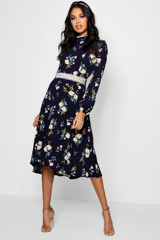 Long Sleeve Dresses Boutique  Floral Long Sleeve Skater Dress