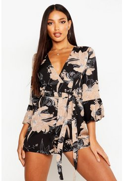 Black Floral Wrap & Ruffle Sleeve Playsuit