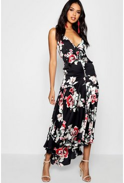 Boutique Lo Floral Satin Ruffle Dip Hem Dress, Black