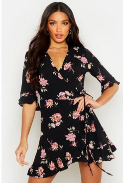 Floral Woven Wrap Front Tea Dress, Black