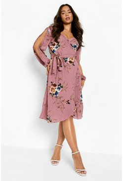 Boutique  Floral Split Sleeve Wrap Dress, Pink rosa
