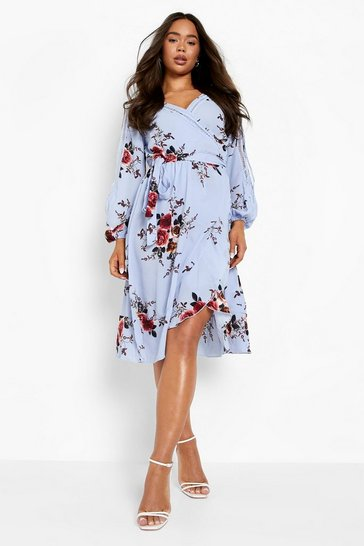 Sky blue Boutique  Floral Split Sleeve Wrap Dress