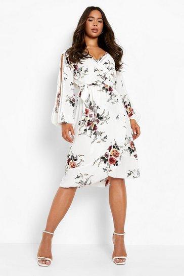 White Boutique  Floral Split Sleeve Wrap Dress