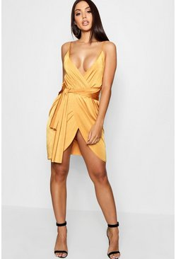 Amber orange Wrap Belted Bodycon Dress