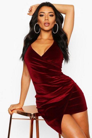 Berry red Velvet Wrap Bodycon Dress