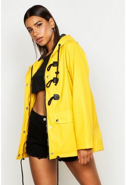 Mustard yellow Rubberised Rain Mac With Toggles