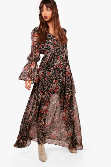 Black Gabriella Bohemian Tie Detail Maxi Dress